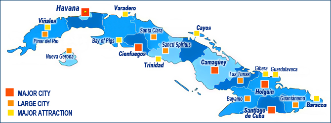 Cuba Country Guide Mustsees Major Attractions YourOwnCuba - Major cities map of cuba